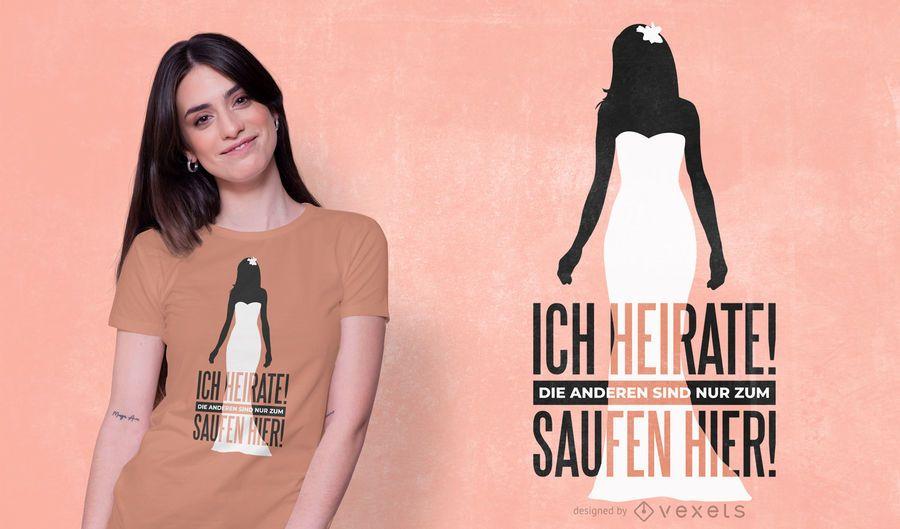 Design alemão do t-shirt das citações do casamento