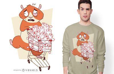 Diseño de camiseta de hámster comprando papel higiénico