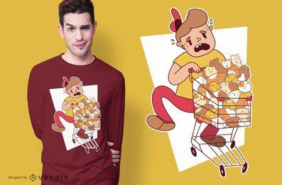 Design de t-shirt de compra de hamsters de menino