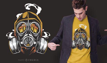 Design de t-shirt de fogo de máscara de gás