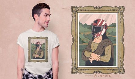 Design de camiseta com capacete Mona Lisa
