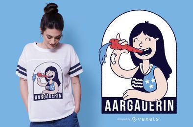 Design engraçado do t-shirt da menina de Aargau