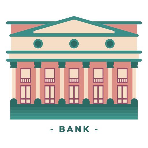 Building bank flat illustration Transparent PNG