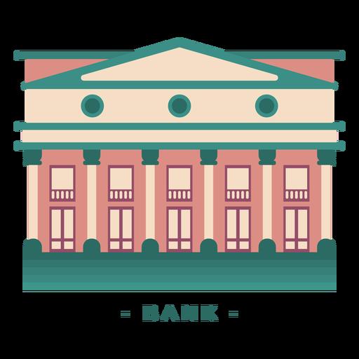 Edificio ilustración plana banco Transparent PNG
