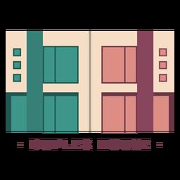 Edificio casa duplex ilustración plana
