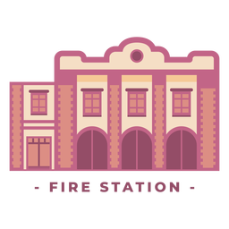 Building fire station flat illustration