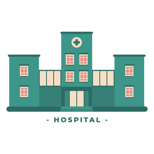 Building hospital flat illustration Transparent PNG