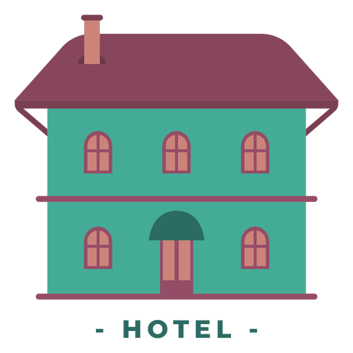 Building hotel flat illustration Transparent PNG