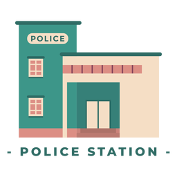 Building police station flat illustration