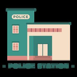 Building police station flat illustration