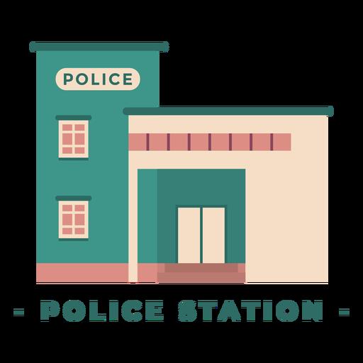 Building police station flat illustration Transparent PNG