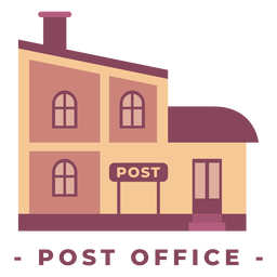 Building post office flat illustration