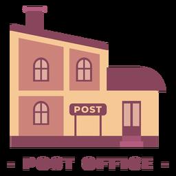 Ilustración plana del edificio de la oficina de correos