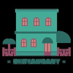 Building restaurant flat illustration