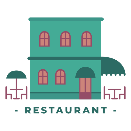 Building restaurant flat illustration Transparent PNG