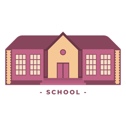 Building school flat illustration