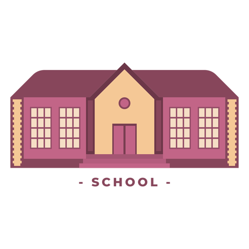 Building school flat illustration Transparent PNG