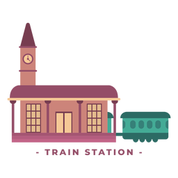 Building train station flat illustration