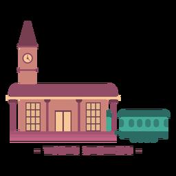 Ilustração plana da estação de trem de construção