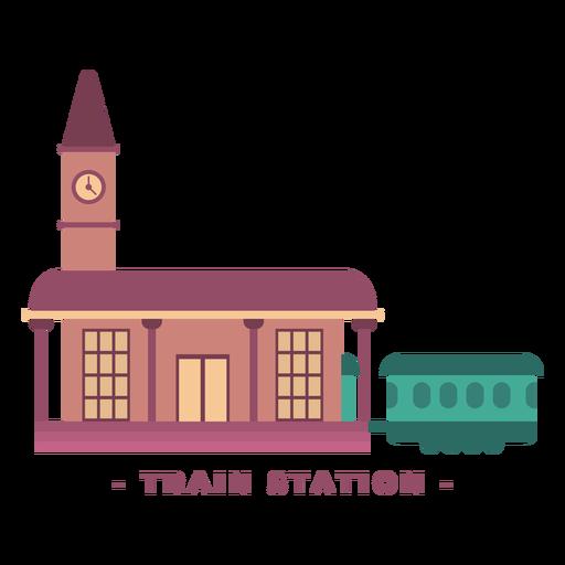 Building train station flat illustration