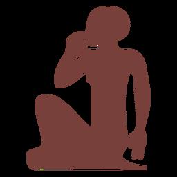 Símbolo egipcio sentado silueta de mujer