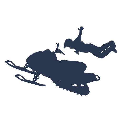 Extreme sports snow mobile jump silhouette