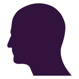 Face left facing bald man silhouette