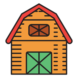 Farm barn colored icon