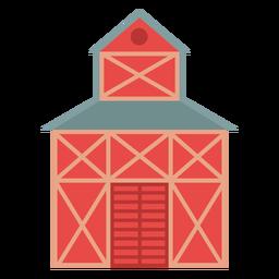 Icono de color rojo granja granero