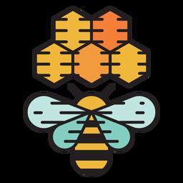 Fazenda abelha colméia ícone colorido