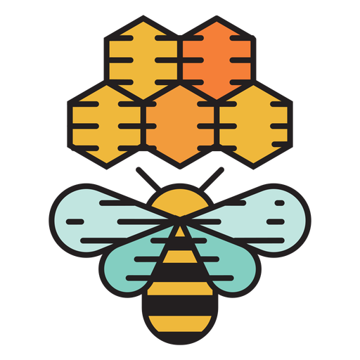 Farm bee beehive colored icon