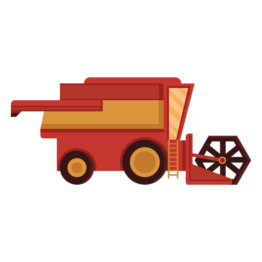 Icono rojo de cosechadora de granja Transparent PNG