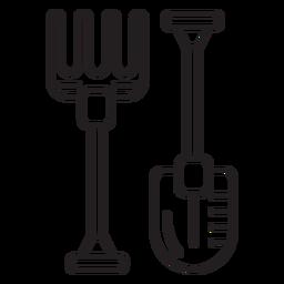 Farm shovel pitchfork icon