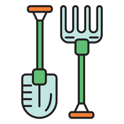 Farm shovel pitchfork colored icon