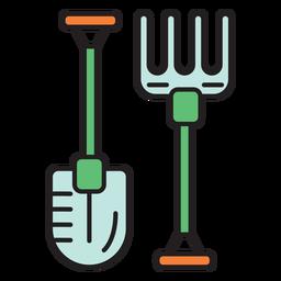 Icono de color de horquilla de pala de granja