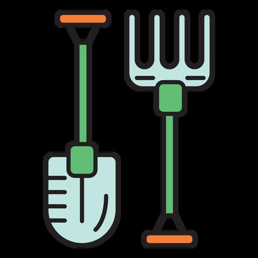 Icono de color de horquilla de pala de granja Transparent PNG