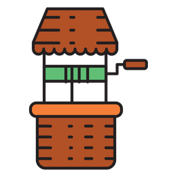 Farm water well colored icon