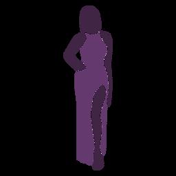 Modelo de moda posando con la mano en el modelo de cintura