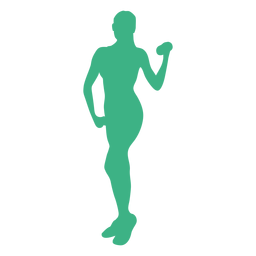 Fitness model dumbell silhouette
