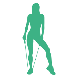 Silueta de banda de resistencia de modelo de fitness