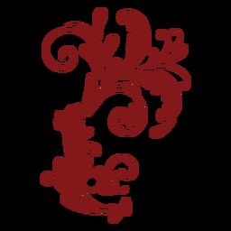 Ornamento curvo complexo de design floral