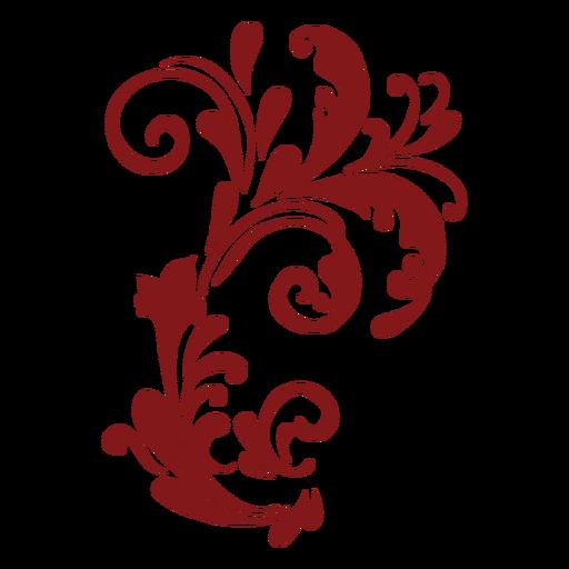 Adorno curvo complejo de diseño floral Transparent PNG
