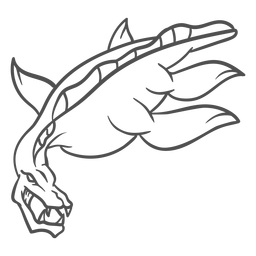 Trazo de dragón de criatura folclórica