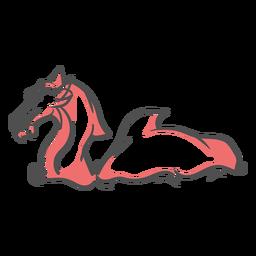 Folklore criatura dragón natación duotono