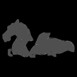 Folklore criatura dragón nadando a la izquierda