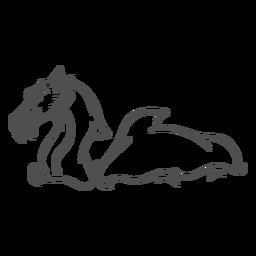 Dragón de la criatura del folklore nadando hacia la izquierda