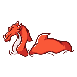 Folklore-Kreaturendrache, der rot schwimmt