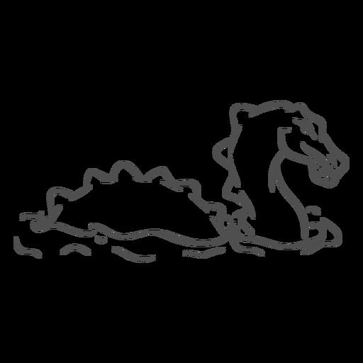 Dragón de criatura folclórica nadando hacia la derecha