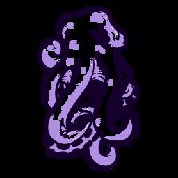 Criatura folclórica kraken enojado dibujado a mano