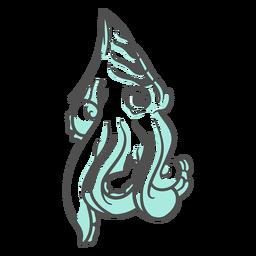 Folklore creature kraken moving hand drawn